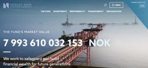 Screenshot von www.nbim.no 23. März 2018, 19 Uhr 10, mit dem Wert des Ölfonds.