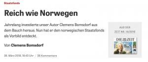 In DIE ZEIT habe ich zusammengefasst, wie ich selber begonnen habe, nach der norwegischen Finanzformel zu investieren, um reich wie Norwegen zu werden (Screenshot von www.zeit.de ).