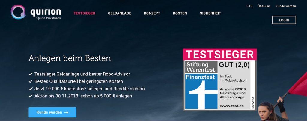 Quirion wirbt mit niedrigen Kosten, 5000 Euro-Start, Testsieg und ... Frau mit roter Flagge. (Abbildung: www.quirion.de)