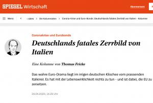 Thomas Fricke zu Italien und Coronakrise bei Der Spiegel.