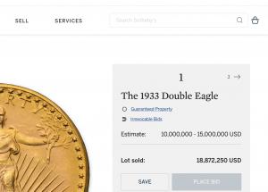 Sotheby's Auktionsergebnis teuerste Goldmünze (Screenshot Ausschnitt)